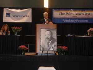 Former Florida state representative Priscilla Taylor, at the annual Martin Luther King, Jr. Breakfast in West Palm Beach two years ago, with Gov. Charlie Crist, who has appointed her to the Palm Beach County Commission.